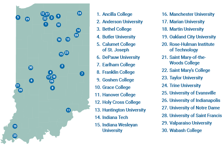 map of the private colleges in Indiana